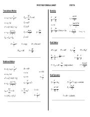 PHYS 1080 Formula Sheet F16 - Cambria Math Font Used (3) (1