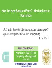 Lecture 17- MEchanisms of Speciation