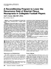 A Reconditioning Program to Lower the Recurrence Rate of Brachial Plexus Neurapraxia