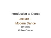 Lecture - Modern Dance