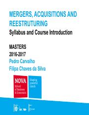 0 Syllabus MERGERS  ACQUISITIONS 2016_Doc1_VP