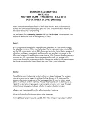 Midterm Exam - Take Home - Fall 2013