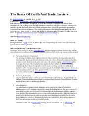 The Basics Of Tariffs And Trade Barriers.docx