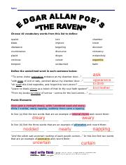Ravenassignment Docx Name Date The Raven Assignment Answer Key A Define The Underlined Word In Each Sentence Below Tis Some Visitor Entreating Course Hero