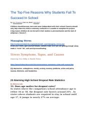 The Top Five Reasons Why Students Fail To Succeed In School.docx