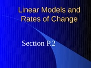 Linear Models and Rates of Change