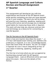 AP Spanish Language and Culture Q1 Assignment.docx