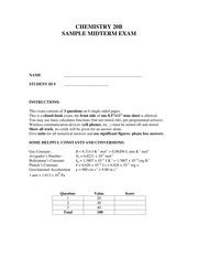 Sample Midterm CHEM20B