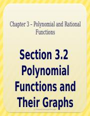 3.2 - Polynomial Functions and Their Graphs