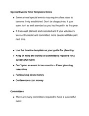 Special Events Time Templates Notes