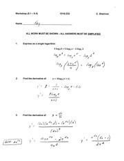 Calculus for Engineering Technology 2 Workshop 7 answers