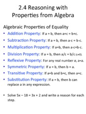 2.4 Reasoning with Properties from Algebra