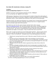 Service Learning Project, Paper#2 Guidelines