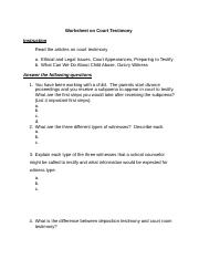 Worksheet on Court Testimony.docx