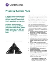 Business plan hand out-