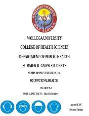 Occupational health pptx - WOLLEGA UNIVERSITY COLLEGE OF