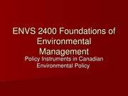 ENVS 2400 2014 Lecture 9 - Substantive Policy Instruments