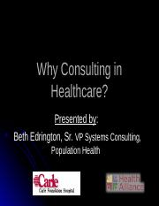 09 01 2016 Consulting in Healthcare CHLH 458 (Beth Edrington)
