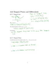 Tangent Planes and Differentials