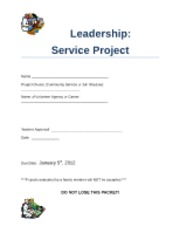 Service Project Guildlines and Rubrics