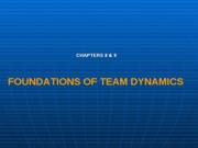 Foundations of team dynamics chap8&9