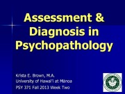 Assessment & Diagnosis in Psychopathology