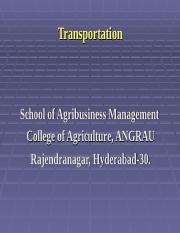 ABM 532, Lecture 25 & 26, Transportation Management