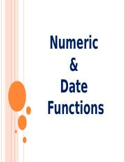 18Chapter - 4 Numeric & Date Functions