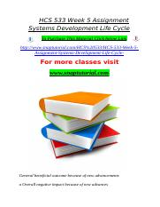 HCS 533 Week 5 Assignment Systems Development Life Cycle.doc
