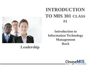 Class 01 - Intro to MIS 301 Fall 2012