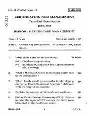 (www.entrance-exam.net)-IGNOU Certificate in NGO Management-Health Care Management Sample Paper 1.pd