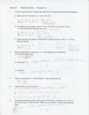 Worksheet 4-Intro to Discrete RV's, means, variance,uniform