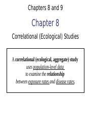 PH295 - Chapters 8 and 9 - Correlational and Case series studies -  Jacobsen - 1.1.14 post (2)