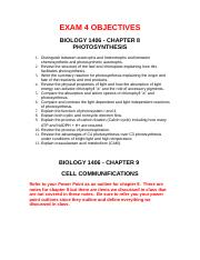BIOL 1406 Lecture - Ch 8-10 Objectives and Notes (1)