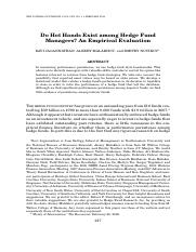 Do Hot Hands Exist among Hedge Fund Managers? An Empirical Evaluation