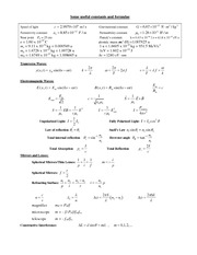 Phys214Formulas and Constants - Exam 1