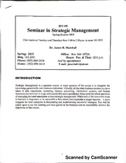 Bus 495 Strategic Management Syllabus