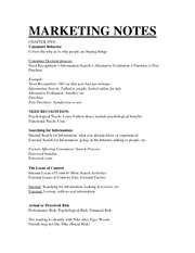 Chapter Five Marketing Notes consumer behavior