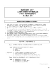 Business2257 - Assignment Schedule
