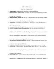 Study Guide for Exam 2 Psyc 341