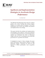 Synthesis and Implementation stratigies to accelerate design performance-wp229