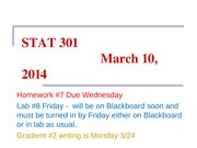 16STAT 301 March 10