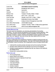 Syllabus for Management 120A Intermediate Accounting - Spring 2013