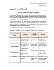 Physical Fitness Nutrition WS