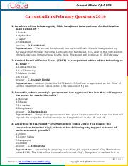 Current Affairs February Question & Answer 2016 PDF by AffairsCloud