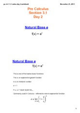 Base E exponential function notes