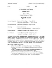 Actual Winter 2104 ADMS3530 Midterm Exam With Solutions Type B (1)