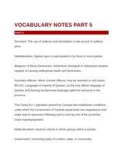 Vocabulary Notes Parts 5