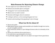 Main Reasons For Rejecting Climate Change
