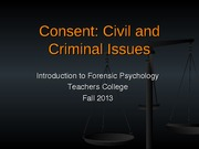Lecture 3 Consent Civil and Criminal Issues
